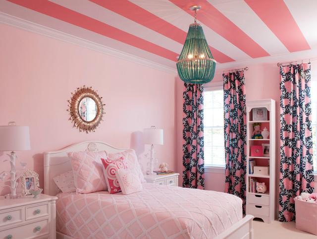 Pink & Turquoise Big Girl Room - Traditional - Kids ...