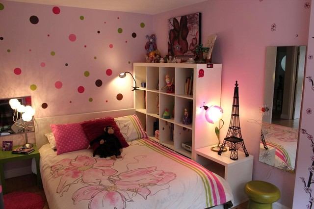 Pink bedroom with polka dots