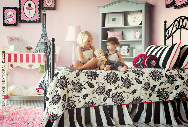 Pink Black and White Girl\'s Bedroom Paris Theme - Contemporary ...