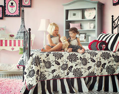 Pink Black and White Girl's Bedroom Paris Theme contemporary-kids