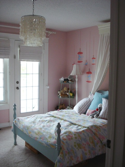 pink girls room traditional-kids