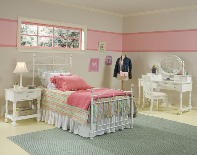 Pink Stripe Teen Room contemporary kids