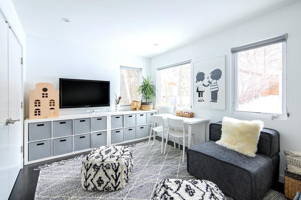 Trendy gray floor kids' study room photo in Denver