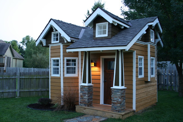 Playhouse craftsman kids kansas city by dream for Playhouse with garage plans
