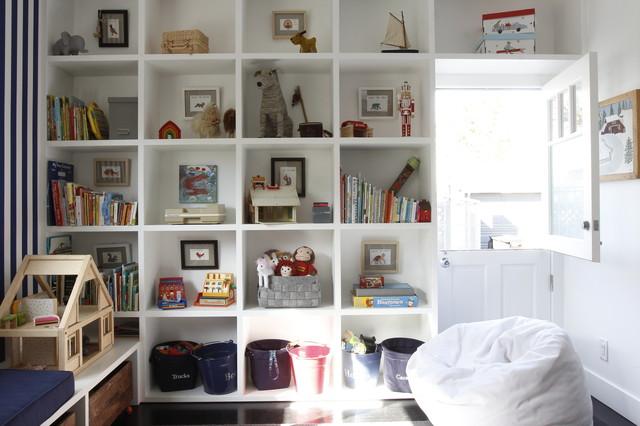 playroom mid sized transitional gender neutral dark wood floor playroom idea in los - Bookshelves Los Angeles