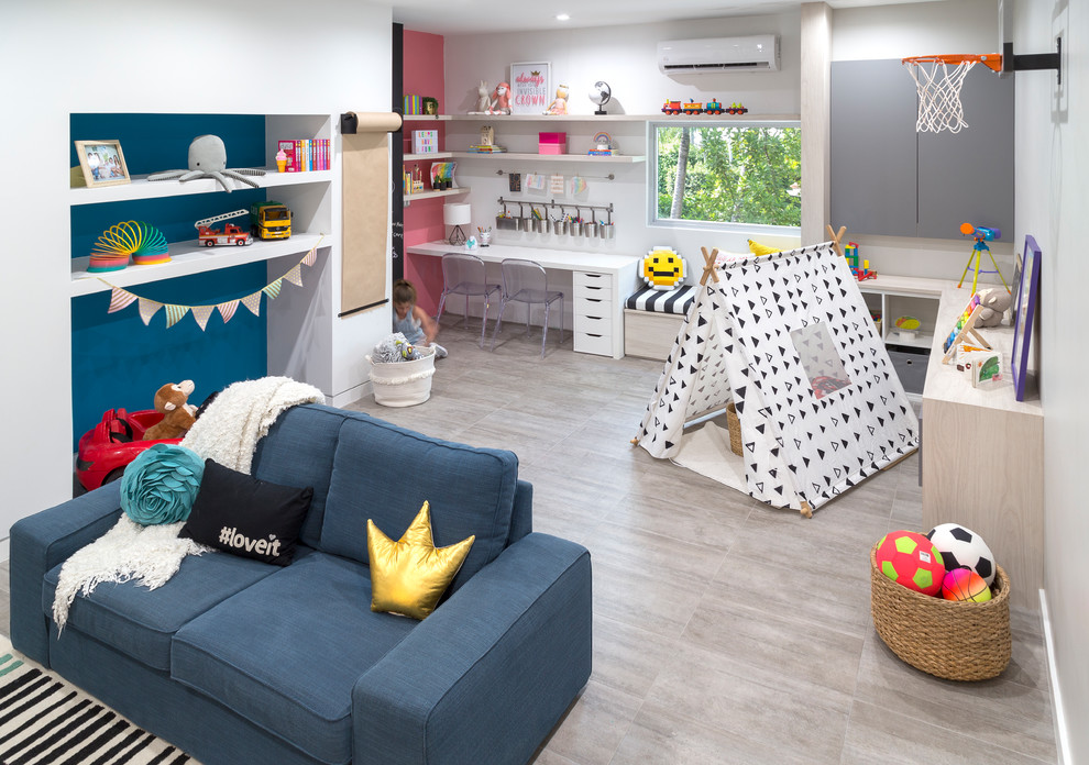 Inspiration for a large contemporary gender-neutral porcelain tile and gray floor kids' room remodel in Miami with white walls