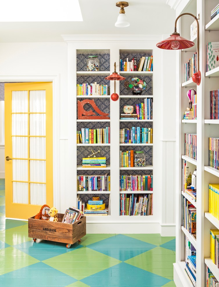 Kids' room - mid-sized farmhouse gender-neutral painted wood floor and multicolored floor kids' room idea in Los Angeles with white walls