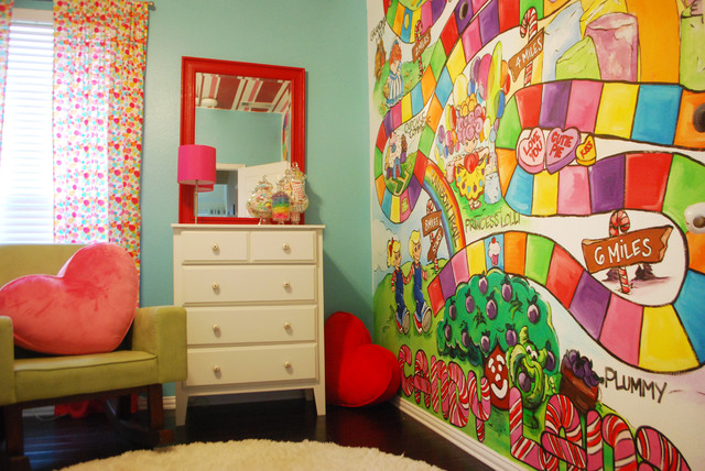 Poppie 39 s candy land room modern kids dallas for Candyland wall mural