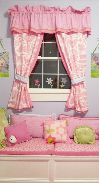 Posh Playhouse Window Bench, Drapery and Pillows traditional-kids