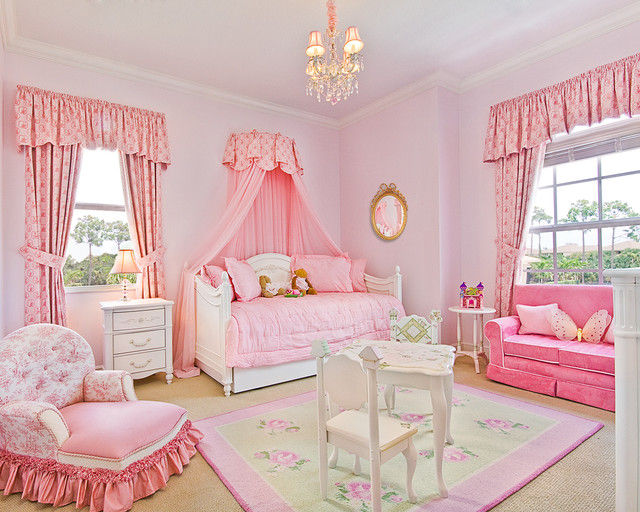 Example Of A Clic Carpeted Kids Room Design In Miami With Pink Walls