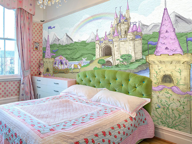 Princess themed wallpaper contemporary kids other for Castle wall mural wallpaper