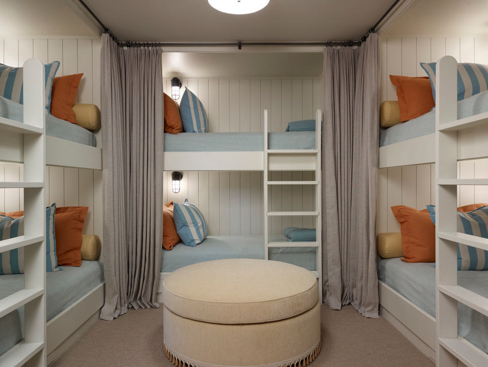 Example of a transitional gender-neutral carpeted kids' bedroom design in Chicago