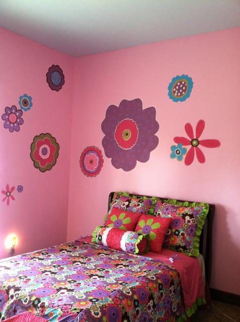 Purple Flower Power Bedroom eclectic-kids