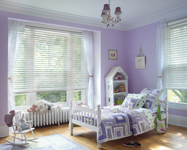 Purple Little Girls Bedroom with White Blinds - Traditional ...