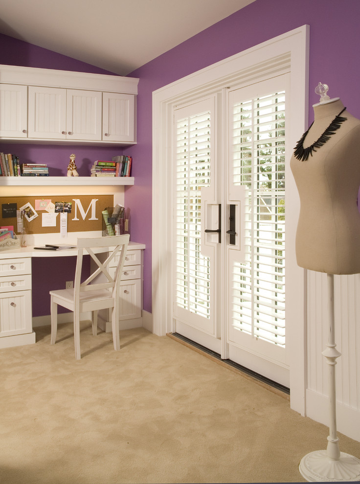 Example of a classic kids' room design in Seattle with purple walls