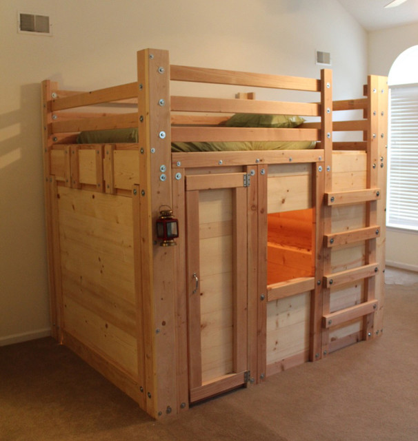 Queen sized bed fort with twin mattress rustic kids - Cool loft bed designs ...