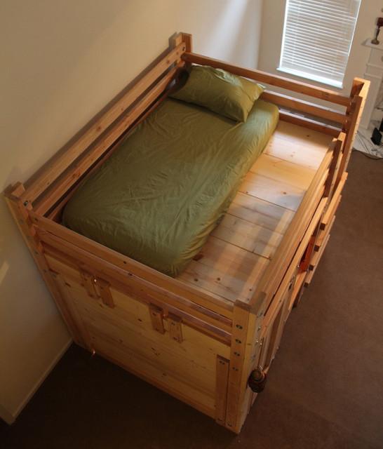 Queen Sized Bed Fort With Twin Mattress Rustikal Kinderzimmer Charleston Von Palmetto Bunk Beds Houzz