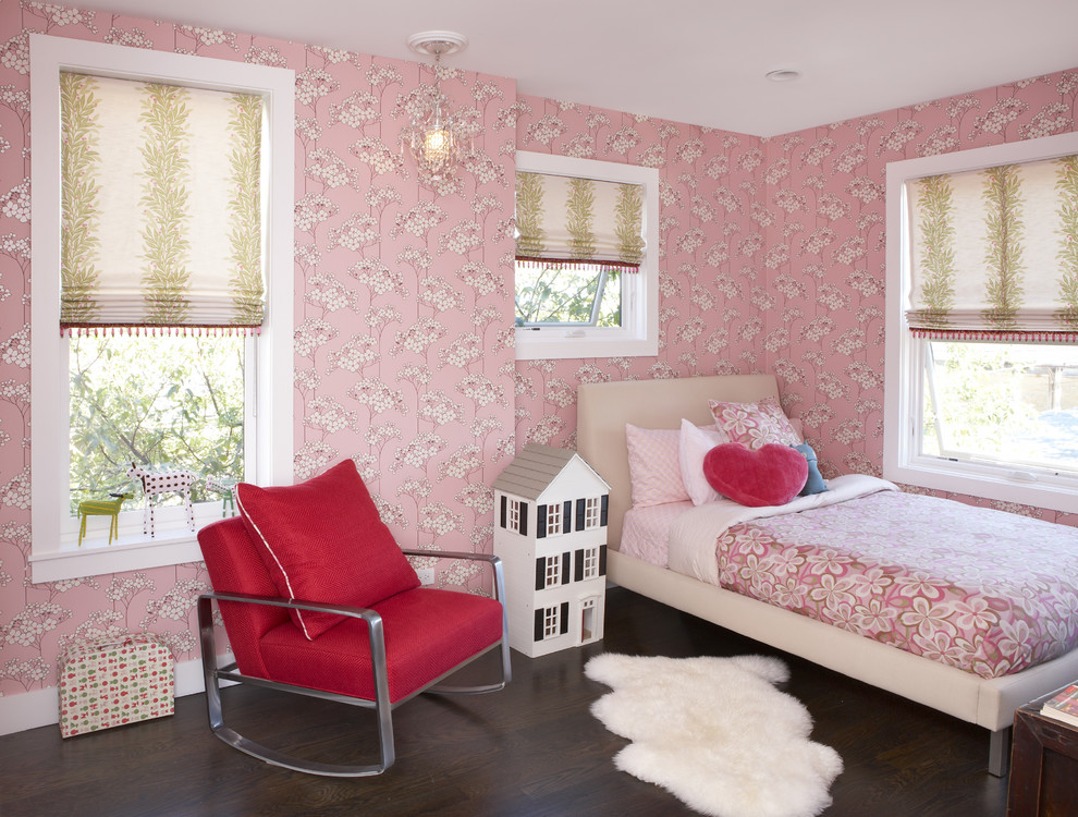 Example of a classic girl dark wood floor kids' room design in Chicago with multicolored walls