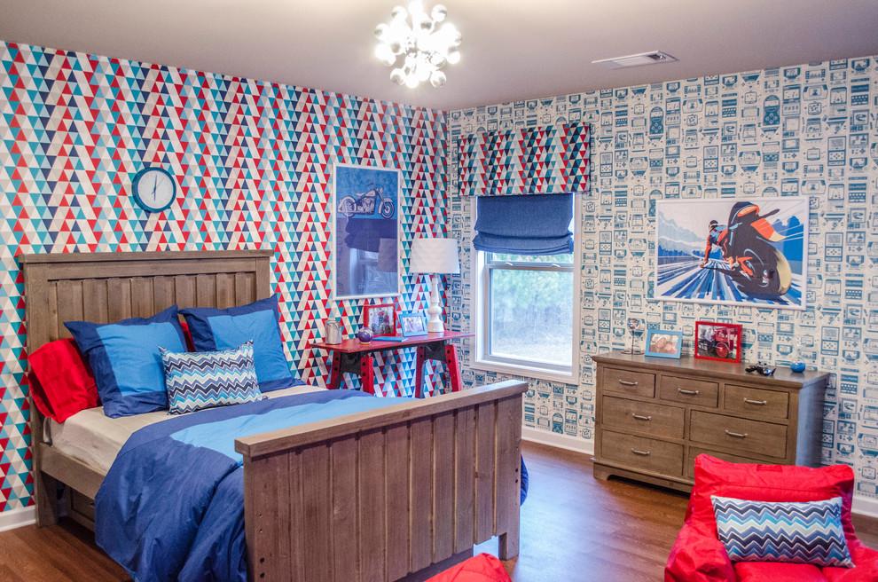 Elegant boy kids' bedroom photo in Atlanta with multicolored walls