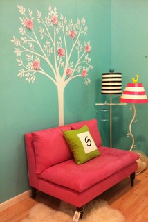 remarkable blue pink bedroom ideas teenage girls   Reading Nook in Girl's Bedroom in Tiffany Blue and Hot Pink