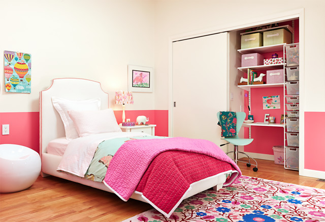 red bedroom contemporary-kids