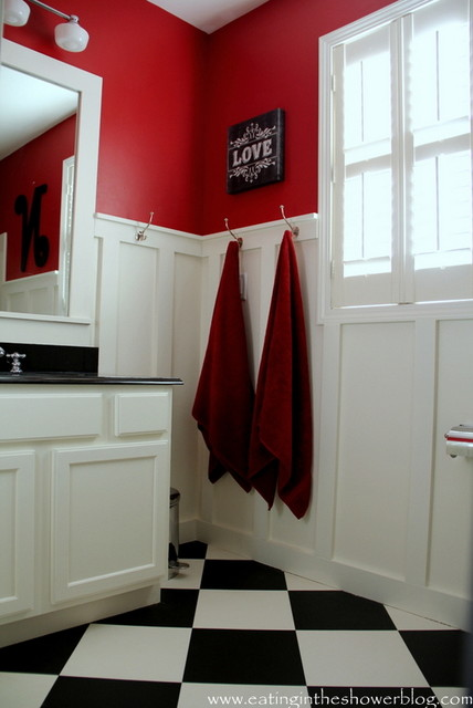Red black and white kids 39 bathroom contemporary kids for Ralph lauren bathroom ideas