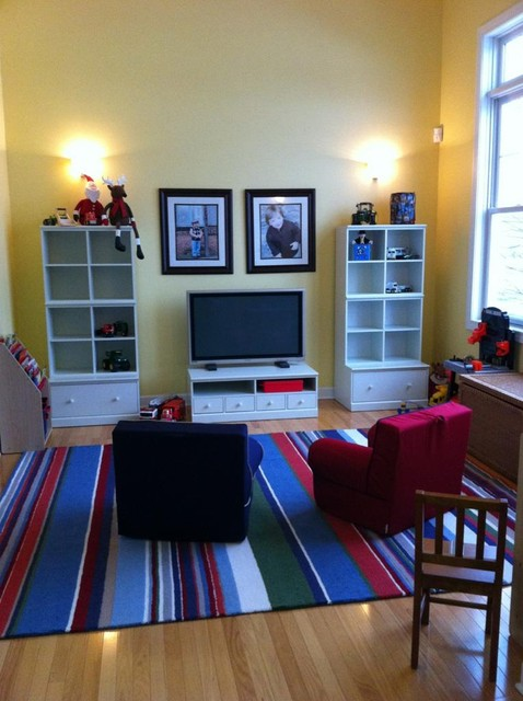 Redesigning a useful playroom modern kids new york - Kids game room ideas ...