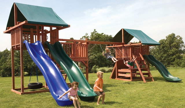 Redwood Swing Sets with 10 Unique Play Features - Modern ...