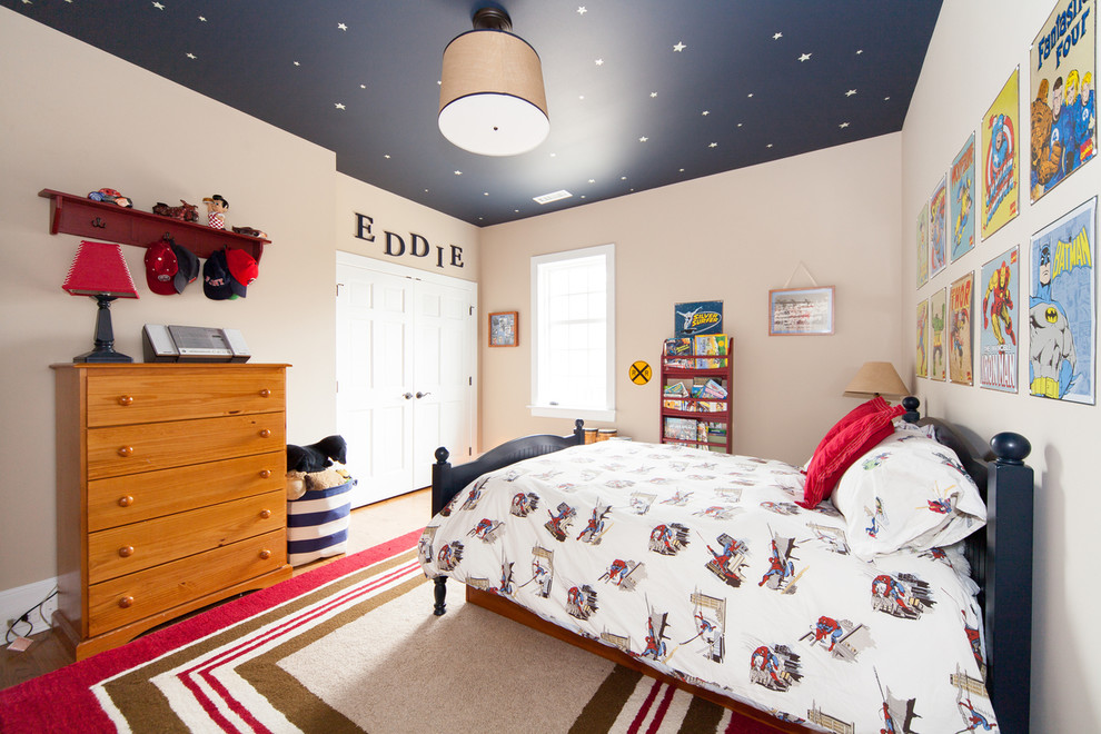Example of a mid-sized classic boy light wood floor kids' room design in Philadelphia with beige walls