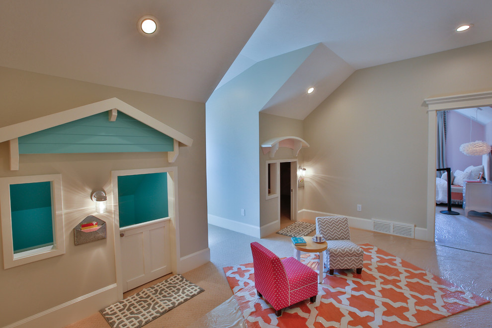 Large transitional girl carpeted kids' room photo in Salt Lake City with multicolored walls