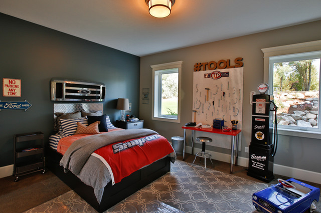 Inspiration for a large transitional boy carpeted kids' room remodel in Salt Lake City with gray walls