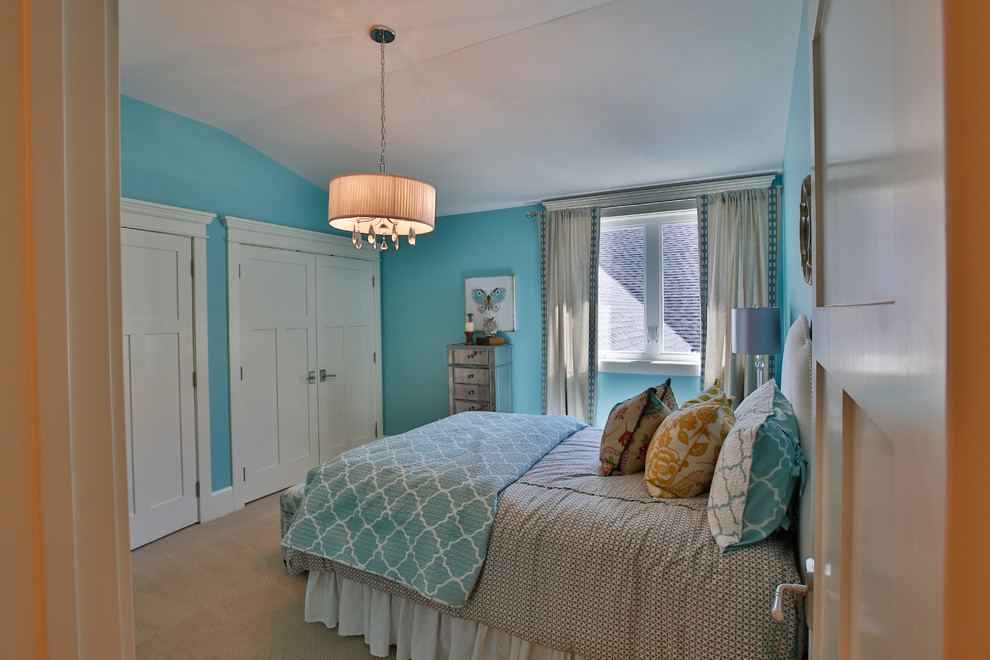 Large transitional girl carpeted kids' room photo in Salt Lake City with blue walls