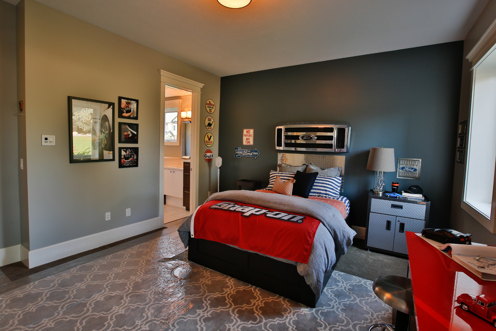Kids' room - large transitional boy carpeted kids' room idea in Salt Lake City with gray walls