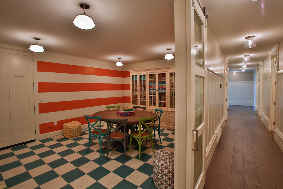 Large transitional gender-neutral medium tone wood floor kids' room photo in Salt Lake City with multicolored walls
