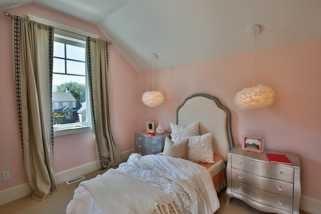 Large transitional girl carpeted kids' room photo in Salt Lake City with pink walls