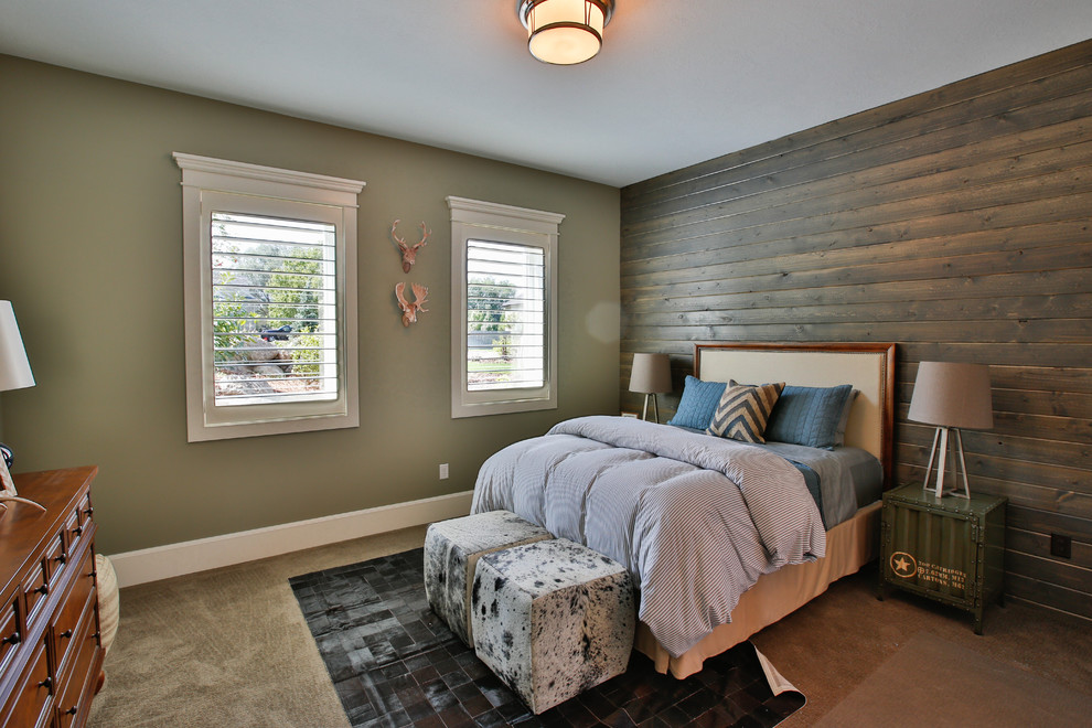 Large transitional gender-neutral carpeted kids' room photo in Salt Lake City with brown walls