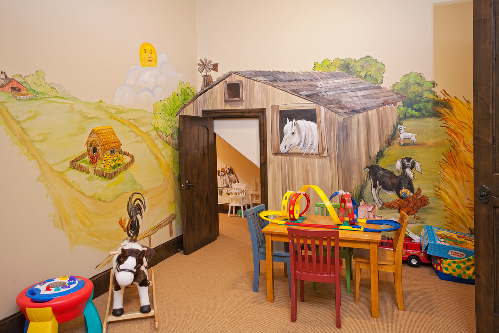 Mountain style gender-neutral carpeted kids' room photo in Minneapolis with multicolored walls