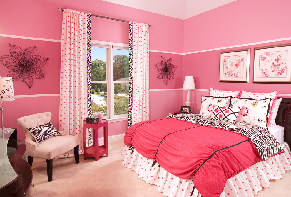 Example of a transitional girl carpeted kids' room design in Atlanta with pink walls