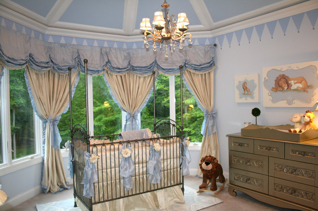 Royal Prince Nursery in Baby Blue and Silver traditional-kids