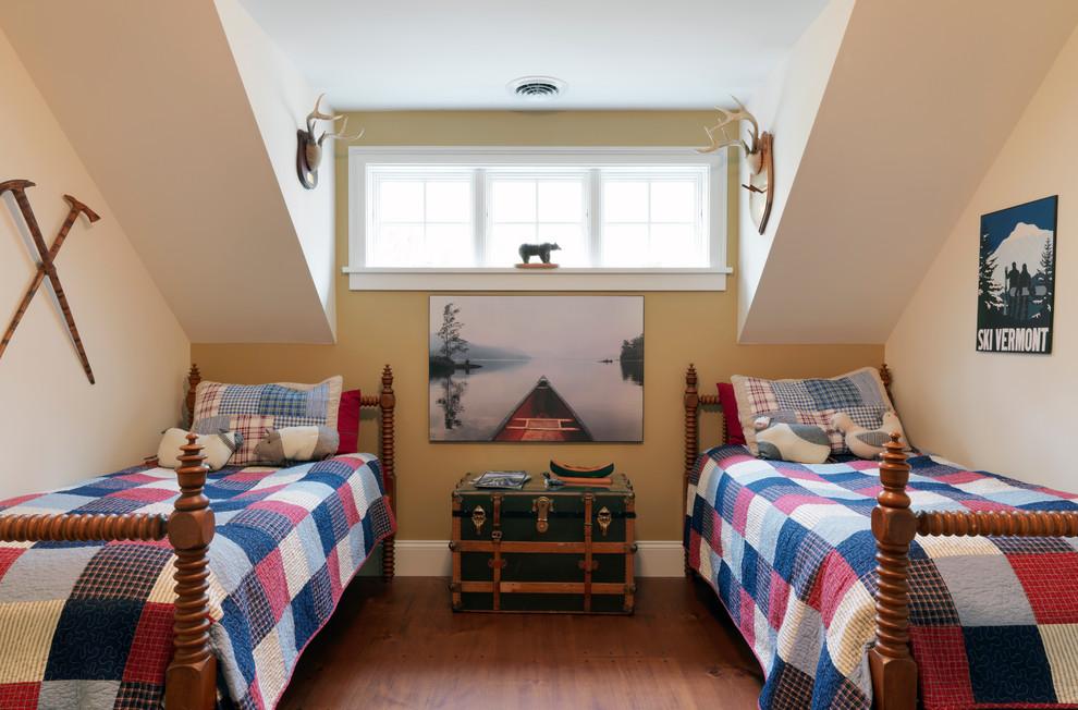 Kids' room - rustic gender-neutral medium tone wood floor kids' room idea in Burlington with yellow walls