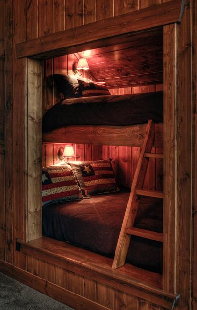 Built In Bed For Kids Room: Rustic Bunk Beds