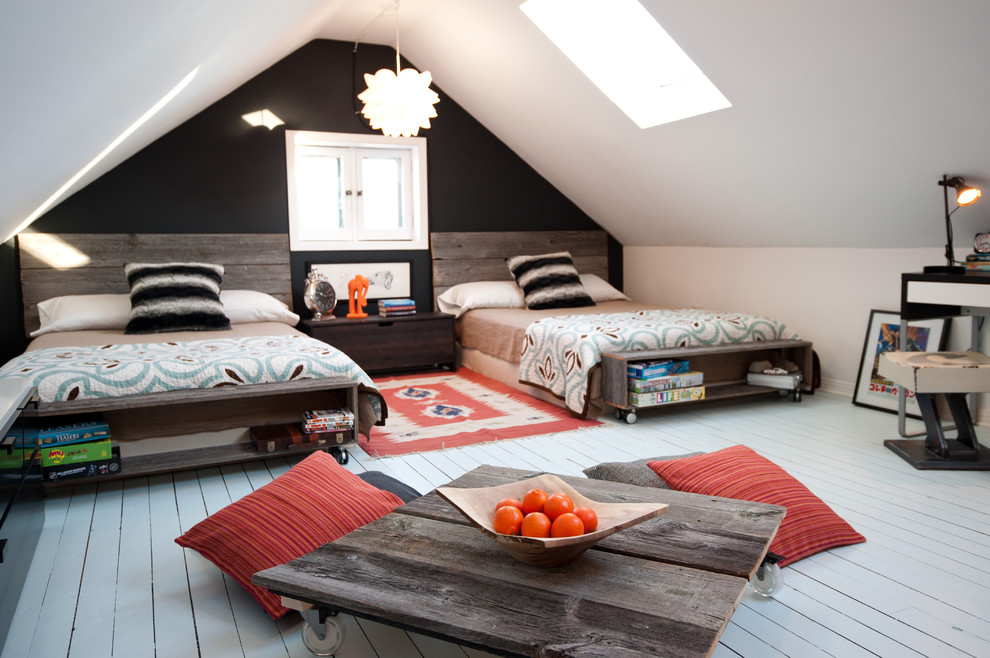 Inspiration for a rustic gender-neutral painted wood floor kids' room remodel in Ottawa with multicolored walls