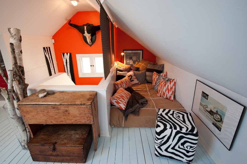 Example of a mountain style boy painted wood floor and white floor teen room design in Ottawa with multicolored walls
