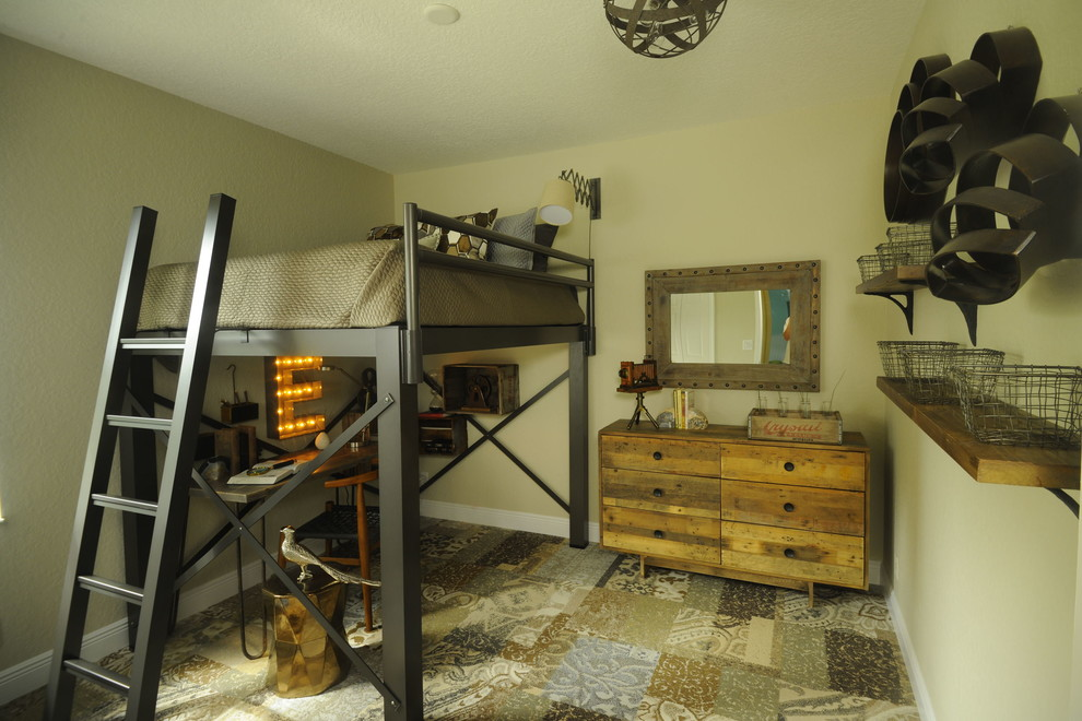Inspiration for a rustic boy kids' room remodel in Miami with beige walls