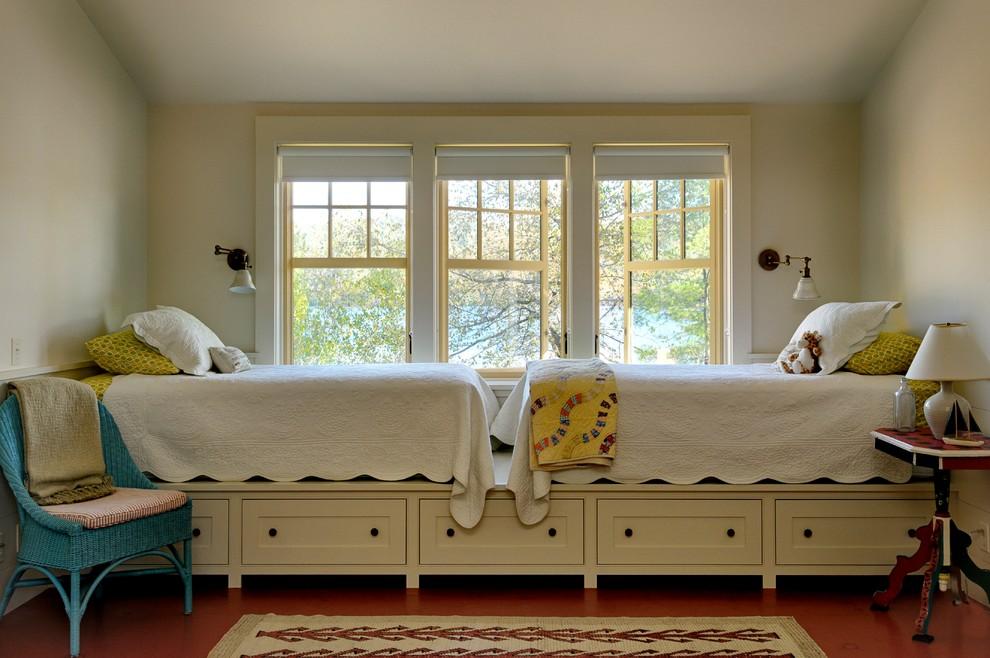 Inspiration for a timeless kids' bedroom remodel in Burlington with beige walls