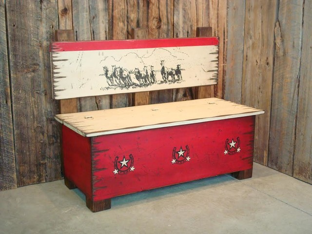 Rustic Red Storage Bench