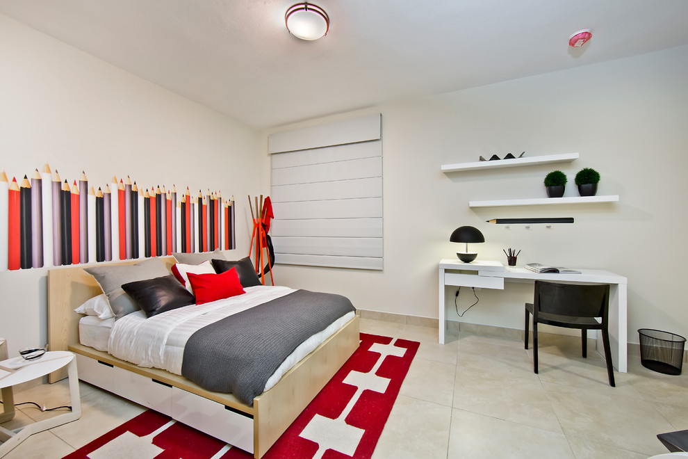 Inspiration for a contemporary gender-neutral kids' room remodel in Other with white walls
