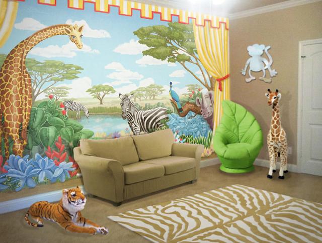 Safari Mural In Playroom Tropical Kids New York By