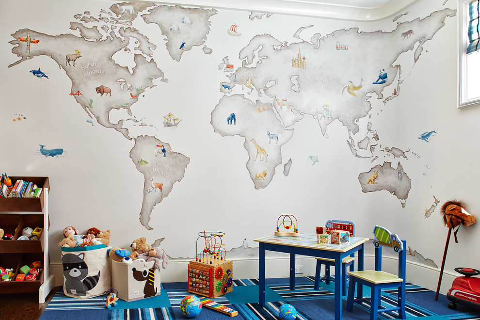 Mid-sized transitional boy carpeted and multicolored floor kids' room photo in San Francisco with multicolored walls