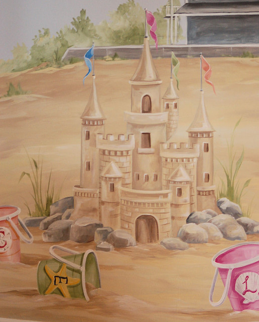 Sand castle mural in children 39 s room kids boston by for Castle mural kids room